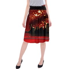 City Silhouette Christmas Star Midi Beach Skirt