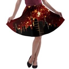 City Silhouette Christmas Star A Line Skater Skirt