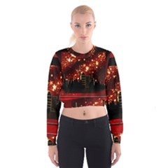 City Silhouette Christmas Star Women s Cropped Sweatshirt