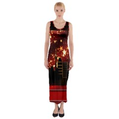 City Silhouette Christmas Star Fitted Maxi Dress