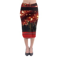 City Silhouette Christmas Star Midi Pencil Skirt