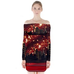 City Silhouette Christmas Star Long Sleeve Off Shoulder Dress