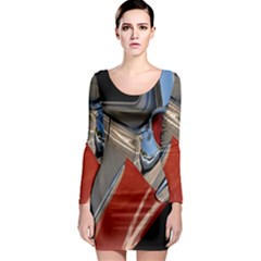 Classic Car Design Vintage Restored Long Sleeve Bodycon Dress