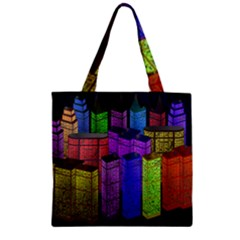 City Metropolis Sea Of Light Zipper Grocery Tote Bag