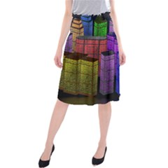City Metropolis Sea Of Light Midi Beach Skirt