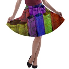 City Metropolis Sea Of Light A-line Skater Skirt