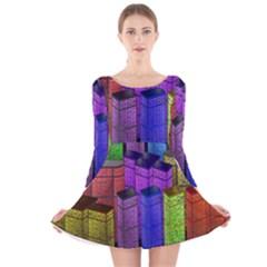 City Metropolis Sea Of Light Long Sleeve Velvet Skater Dress