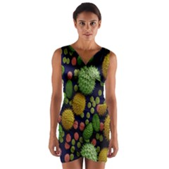 Colorized Pollen Macro View Wrap Front Bodycon Dress
