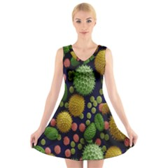 Colorized Pollen Macro View V Neck Sleeveless Skater Dress