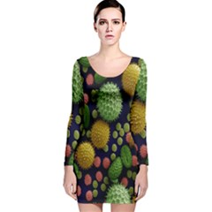 Colorized Pollen Macro View Long Sleeve Velvet Bodycon Dress