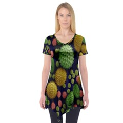 Colorized Pollen Macro View Short Sleeve Tunic
