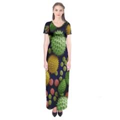 Colorized Pollen Macro View Short Sleeve Maxi Dress