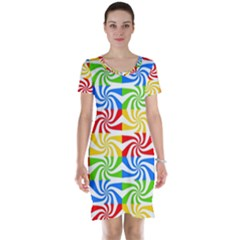 Colorful Abstract Creative Short Sleeve Nightdress