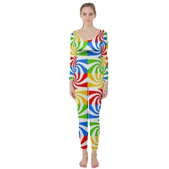 Colorful Abstract Creative Long Sleeve Catsuit