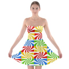 Colorful Abstract Creative Strapless Bra Top Dress