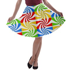 Colorful Abstract Creative A Line Skater Skirt