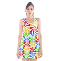 Colorful Abstract Creative Scoop Neck Skater Dress