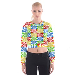 Colorful Abstract Creative Women s Cropped Sweatshirt