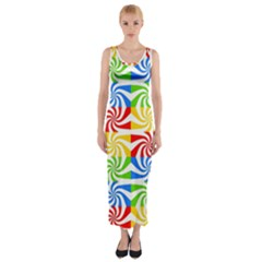 Colorful Abstract Creative Fitted Maxi Dress