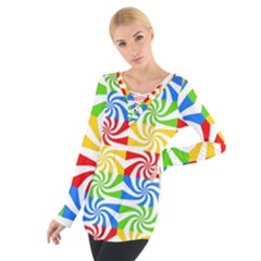 Colorful Abstract Creative Women s Tie Up Tee