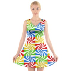 Colorful Abstract Creative V-Neck Sleeveless Skater Dress