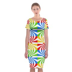 Colorful Abstract Creative Classic Short Sleeve Midi Dress