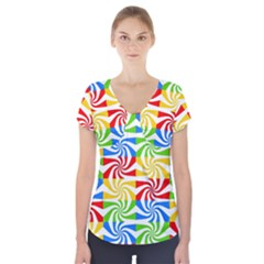 Colorful Abstract Creative Short Sleeve Front Detail Top