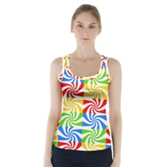 Colorful Abstract Creative Racer Back Sports Top