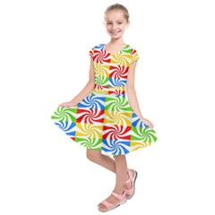 Colorful Abstract Creative Kids  Short Sleeve Dress