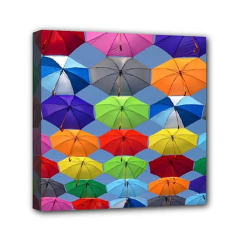 Color Umbrella Blue Sky Red Pink Grey And Green Folding Umbrella Painting Mini Canvas 6  x 6