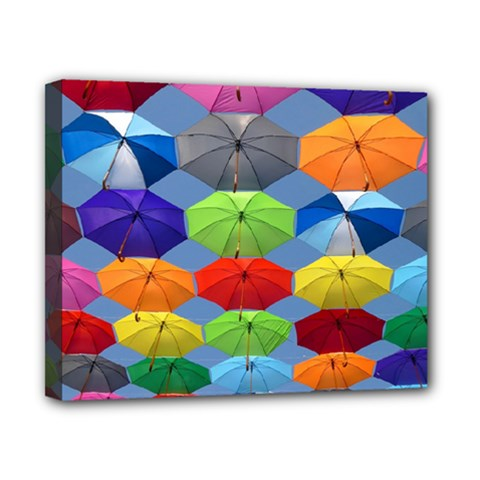 Color Umbrella Blue Sky Red Pink Grey And Green Folding Umbrella Painting Canvas 10  x 8