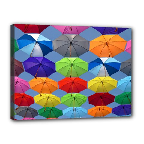 Color Umbrella Blue Sky Red Pink Grey And Green Folding Umbrella Painting Canvas 16  x 12
