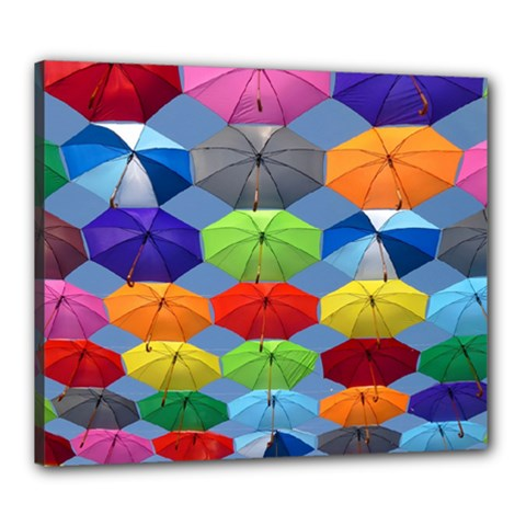 Color Umbrella Blue Sky Red Pink Grey And Green Folding Umbrella Painting Canvas 24  x 20