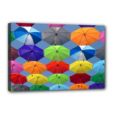 Color Umbrella Blue Sky Red Pink Grey And Green Folding Umbrella Painting Canvas 18  x 12