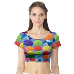 Color Umbrella Blue Sky Red Pink Grey And Green Folding Umbrella Painting Short Sleeve Crop Top (Tight Fit)