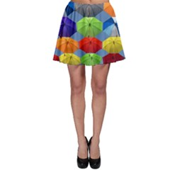 Color Umbrella Blue Sky Red Pink Grey And Green Folding Umbrella Painting Skater Skirt