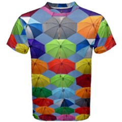 Color Umbrella Blue Sky Red Pink Grey And Green Folding Umbrella Painting Men s Cotton Tee