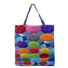 Color Umbrella Blue Sky Red Pink Grey And Green Folding Umbrella Painting Grocery Tote Bag