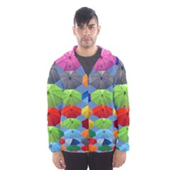 Color Umbrella Blue Sky Red Pink Grey And Green Folding Umbrella Painting Hooded Wind Breaker (men)