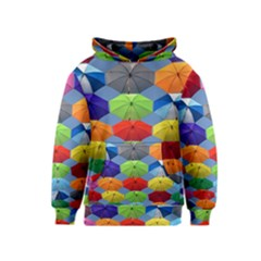 Color Umbrella Blue Sky Red Pink Grey And Green Folding Umbrella Painting Kids  Pullover Hoodie