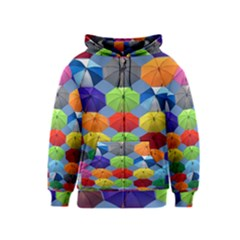 Color Umbrella Blue Sky Red Pink Grey And Green Folding Umbrella Painting Kids  Zipper Hoodie