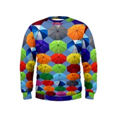 Color Umbrella Blue Sky Red Pink Grey And Green Folding Umbrella Painting Kids  Sweatshirt
