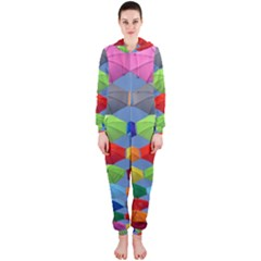Color Umbrella Blue Sky Red Pink Grey And Green Folding Umbrella Painting Hooded Jumpsuit (Ladies)