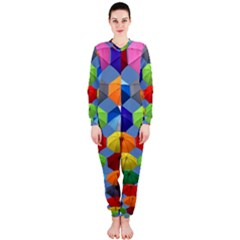 Color Umbrella Blue Sky Red Pink Grey And Green Folding Umbrella Painting OnePiece Jumpsuit (Ladies)