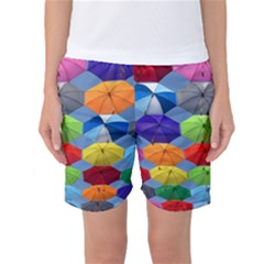 Color Umbrella Blue Sky Red Pink Grey And Green Folding Umbrella Painting Women s Basketball Shorts