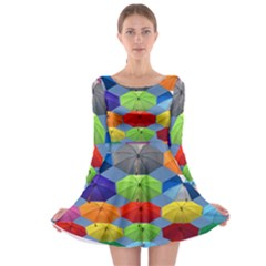 Color Umbrella Blue Sky Red Pink Grey And Green Folding Umbrella Painting Long Sleeve Skater Dress