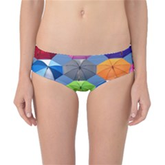 Color Umbrella Blue Sky Red Pink Grey And Green Folding Umbrella Painting Classic Bikini Bottoms