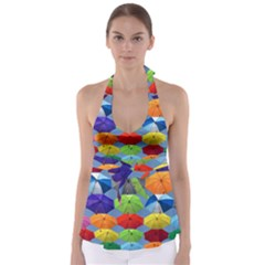 Color Umbrella Blue Sky Red Pink Grey And Green Folding Umbrella Painting Babydoll Tankini Top