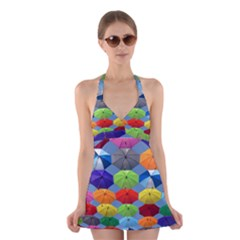 Color Umbrella Blue Sky Red Pink Grey And Green Folding Umbrella Painting Halter Swimsuit Dress