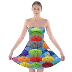 Color Umbrella Blue Sky Red Pink Grey And Green Folding Umbrella Painting Strapless Bra Top Dress